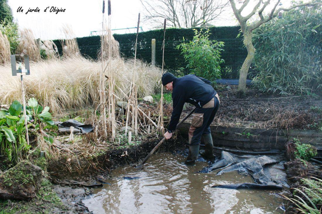 Vidange bassin de lagunage , un jardin d' Obigies